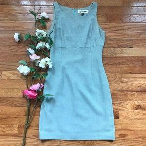 Barami Blue Green Waffle Print Midi Dress